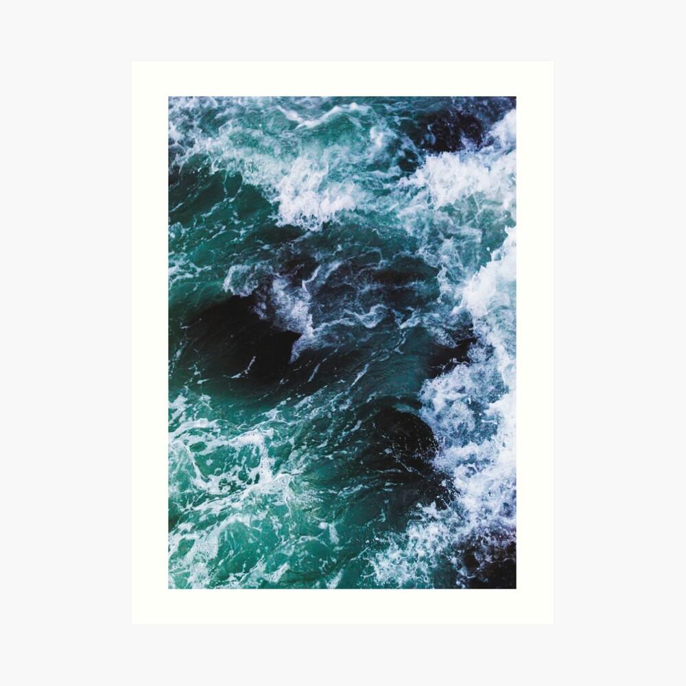 Blue Ocean Waves, fotografía de mar, paisaje marino Lámina artística