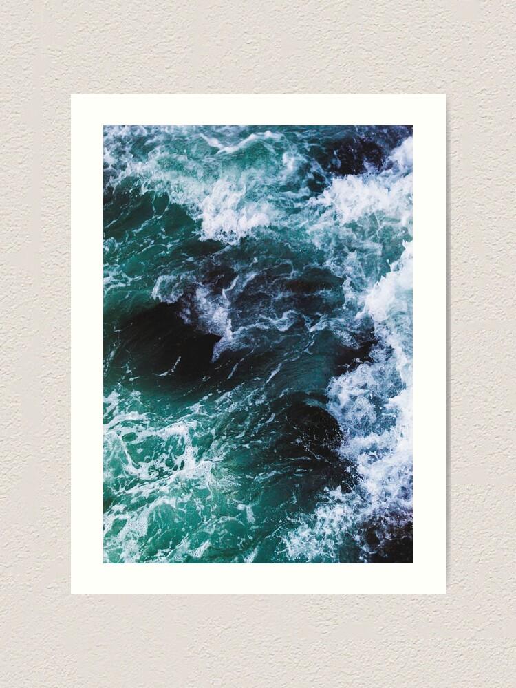 Alternate view of Blue Ocean Waves, Sea Photography, Seascape Art Print