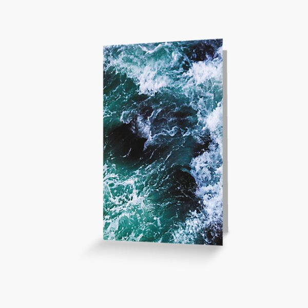 Blue Ocean Waves, Sea Photography, Seascape Greeting Card