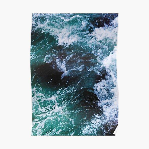 Blaue Ozeanwellen, Meeresfotografie, Seelandschaft Poster