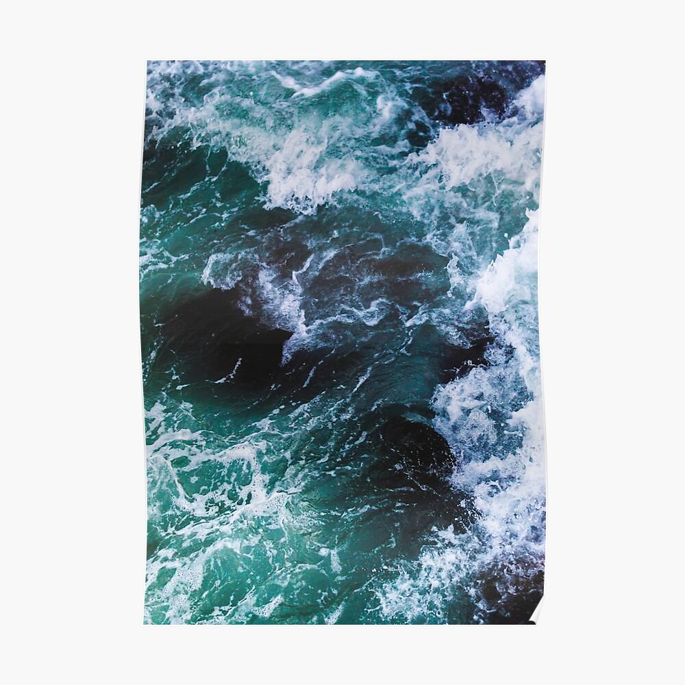 Blaue Meereswellen, Seephotographie, Meerblick Poster