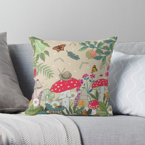 Toadstool Woods Throw Pillow