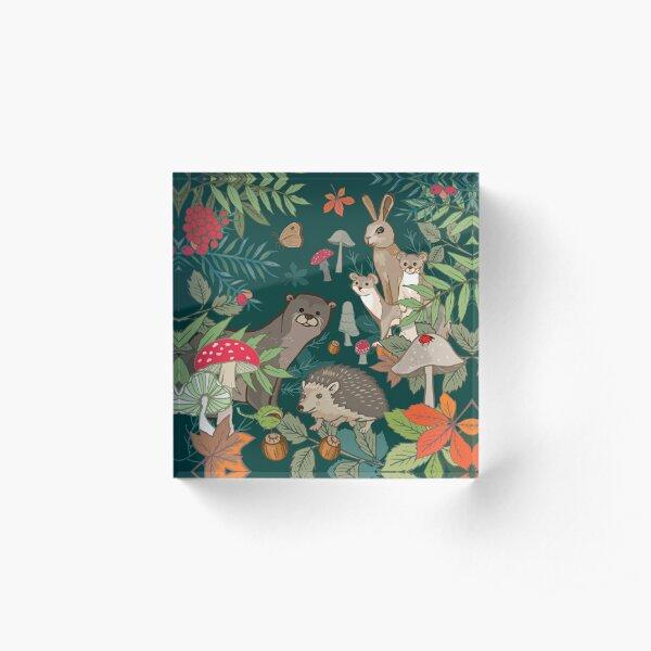 Autumn Animals in the Woods Acrylic Block