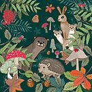 Autumn Animals in the Woods by Angie Spurgeon