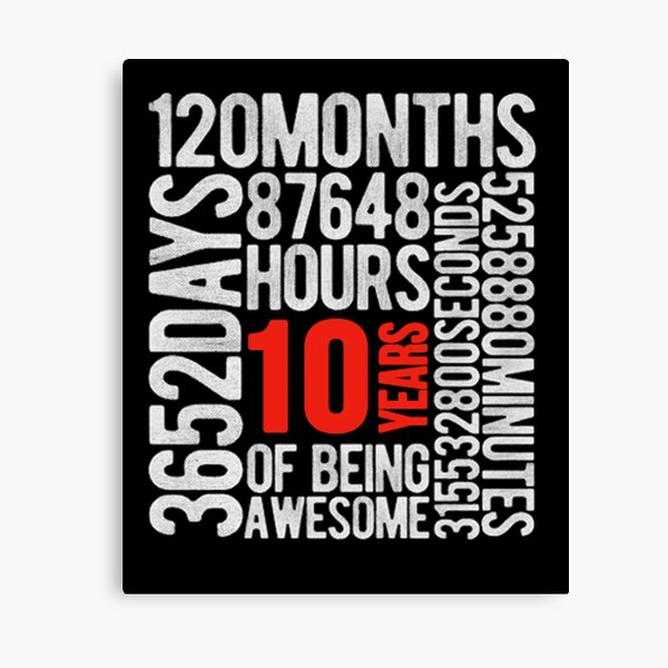 10 Years Old 10th Birthday Vintage Retro T Shirt 120 Months Canvas Print