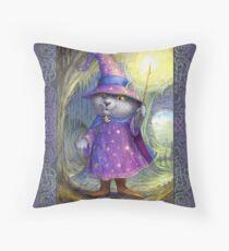 Purlin the Grey - wizard cat Throw Pillow