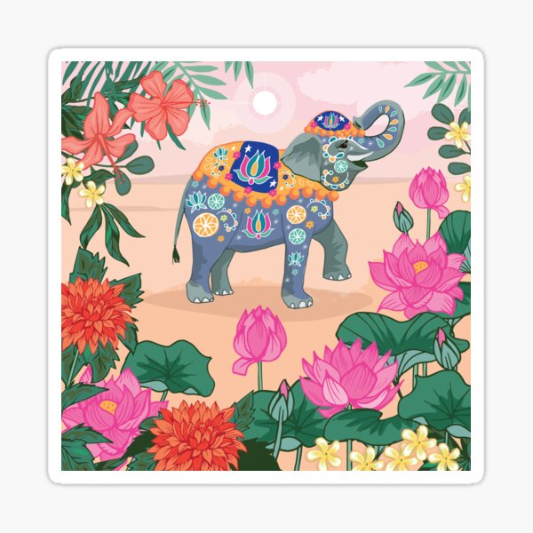 Trunk Up For Luck Indian Elephant Sticker