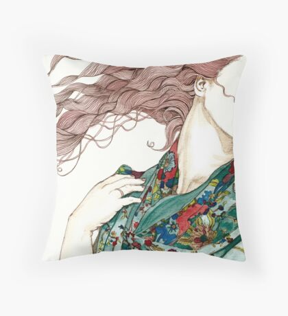 Her green scarf Throw Pillow