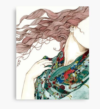 Her green scarf Canvas Print