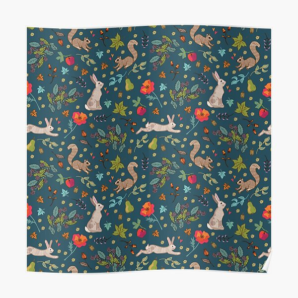 Autumn Hares and Squirrels on Ink Petrol Blue Poster
