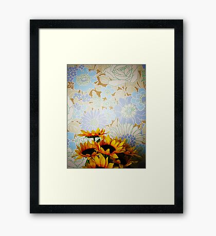 plastic sunflowers and paper roses Framed Print