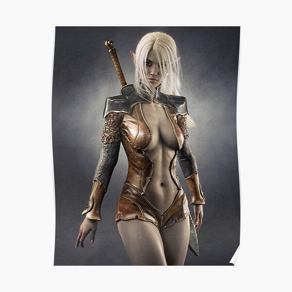 Portrait of a fantasy dark elf female warrior with white long hair. Fantasy illustration Poster