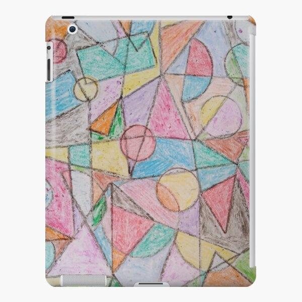 Wax hand drawn multicolor abstract geometric shapes design. iPad Snap Case