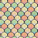 Coral pink and turquoise teal/ aqua seashell art deco pattern by MagentaRose