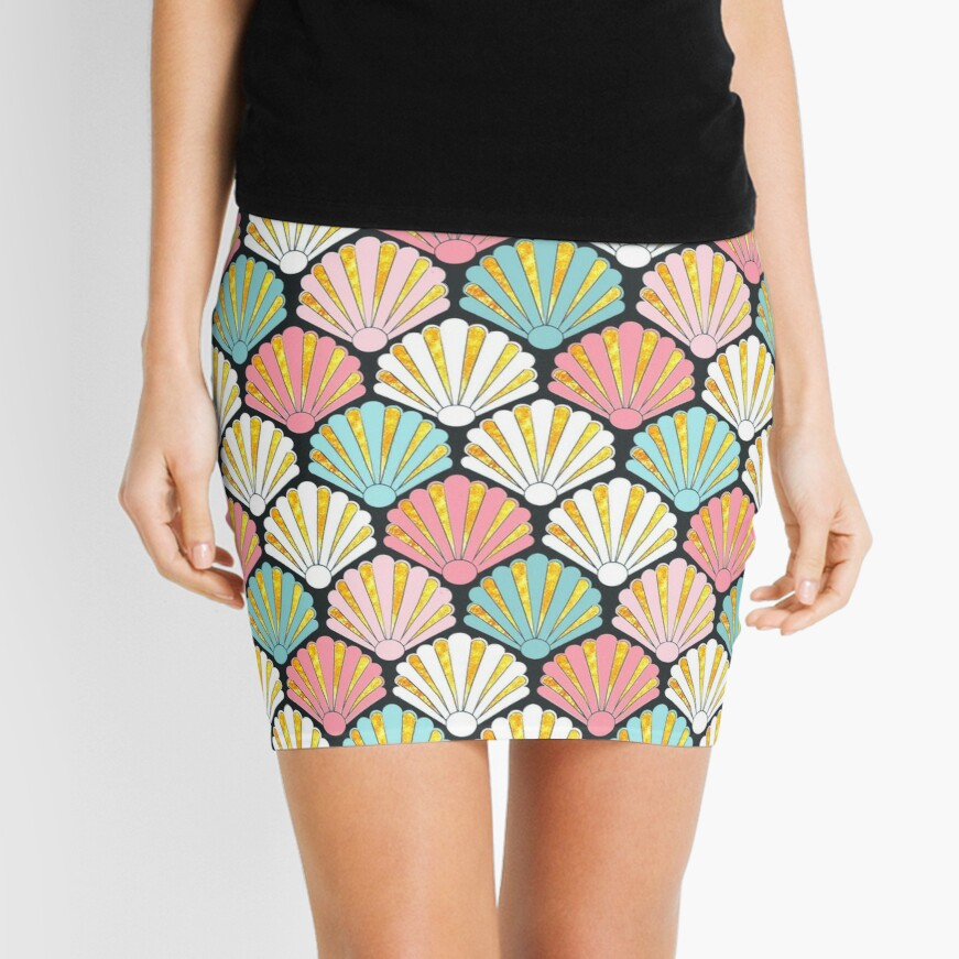 Coral pink and turquoise teal/ aqua seashell art deco pattern Mini Skirt