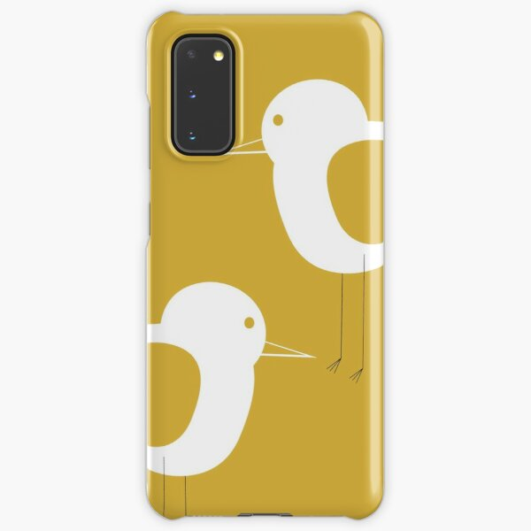 Shorebird Pair in Light Mustard Yellow and White. Minimalist. Clean. Cute. Coastal Samsung Galaxy Snap Case