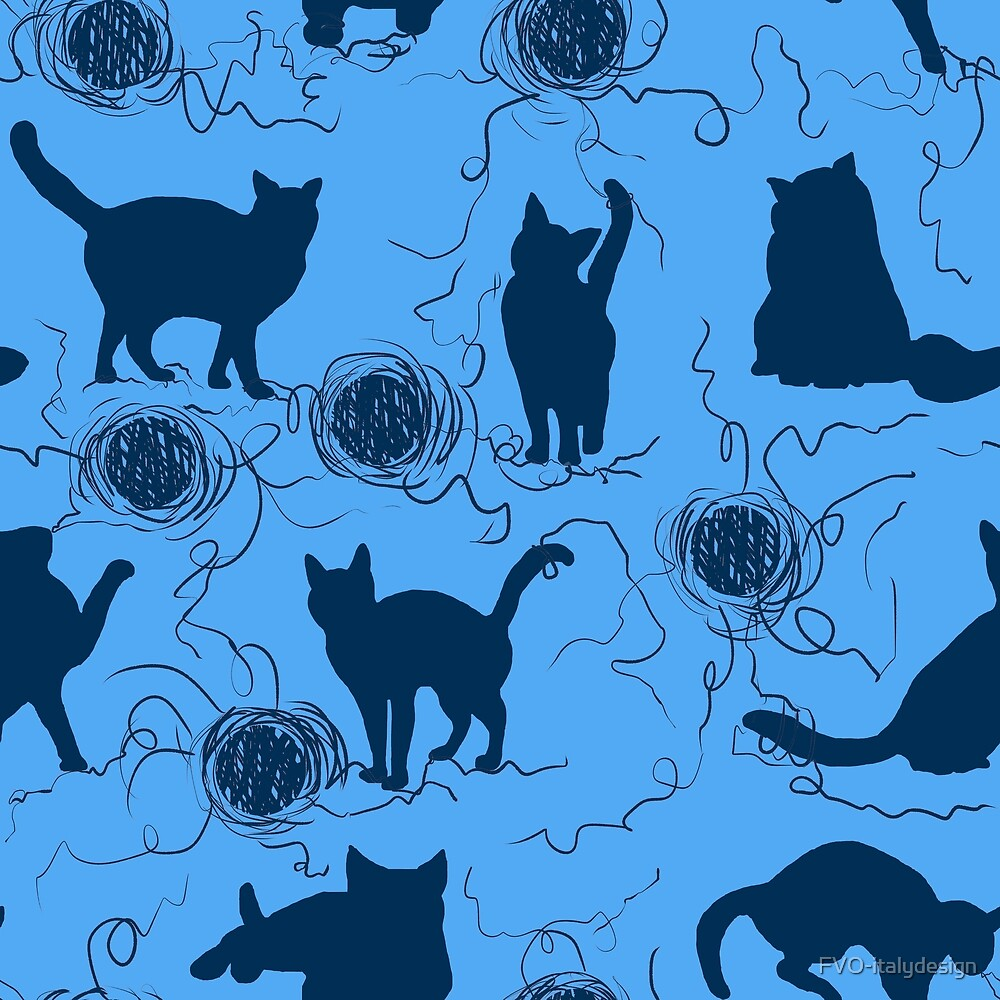 blue kittens pattern by FVO-italydesign