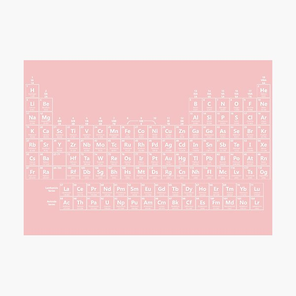 Pretty Periodic Table White Pink Photographic Print