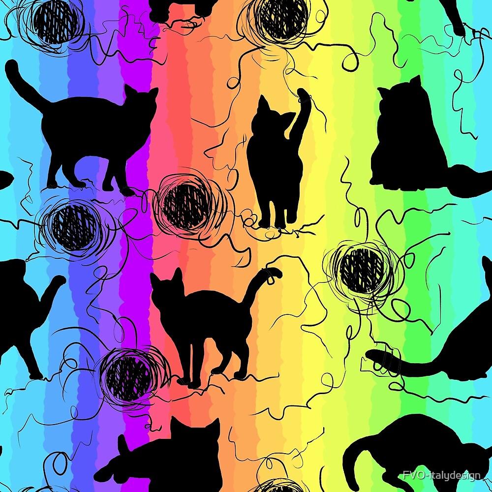 rainbow black kittens pattern by FVO-italydesign
