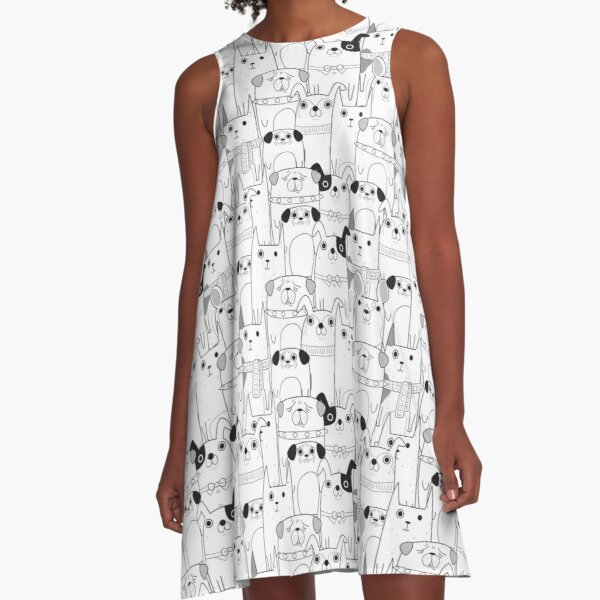 Dog cartoons pattern in black and white A-Line Dress
