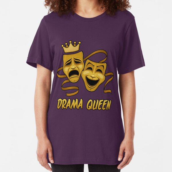 Drama Queen Comedy And Tragedy Gold Theater Masks Slim Fit T-Shirt
