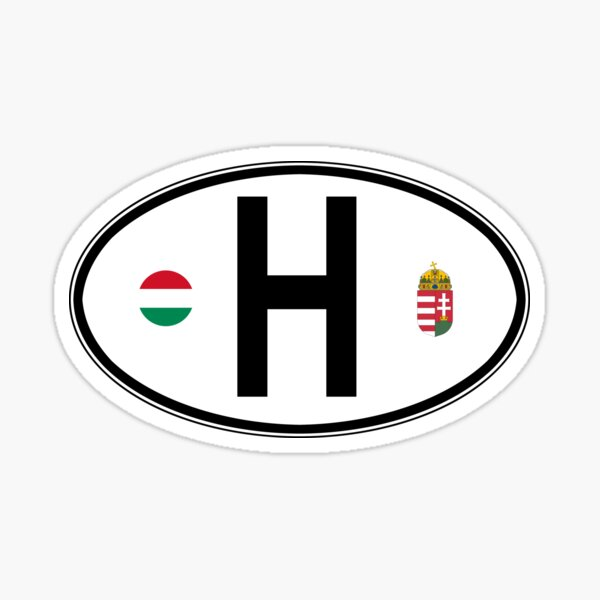 Hungary Oval Country Code Decal Sticker