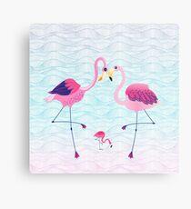 Lámina metálica Pink Flamingos & Abstract Water Waves Illustration