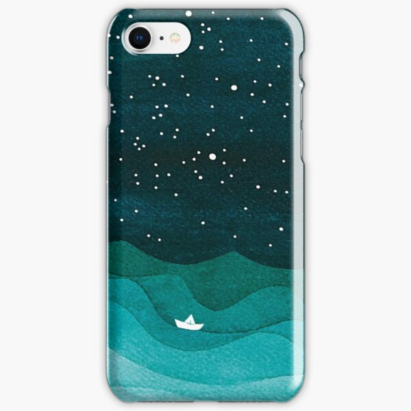 Starry Ocean, teal sailboat watercolor sea waves night iPhone Snap Case