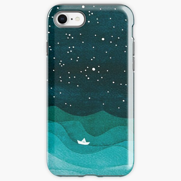 Starry Ocean, teal sailboat watercolor sea waves night iPhone Tough Case