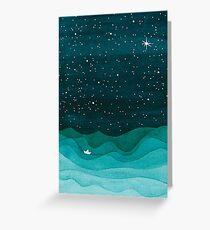 Tarjeta de felicitación Océano estrellado, noche de las olas del mar de la acuarela del velero del trullo