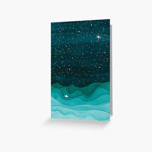 Starry Ocean, teal sailboat watercolor sea waves night Greeting Card