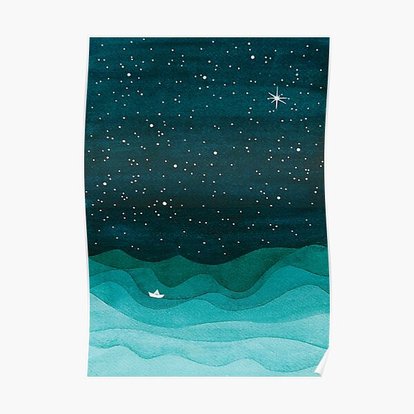 Starry Ocean, teal sailboat watercolor sea waves night Poster