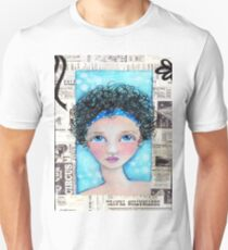Whimiscal Girl with Curly Hair Unisex T-Shirt