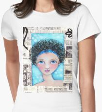 Whimiscal Girl with Curly Hair Womens Fitted T-Shirt