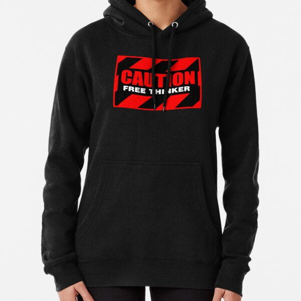 Caution Free Thinker_red II Pullover Hoodie