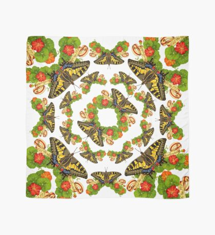 Old World Swallowtail Butterfly and Nasturtiums Scarf