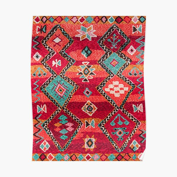 Traditional Colored Anthropologie Bohemian Moroccan ARTWORK Poster