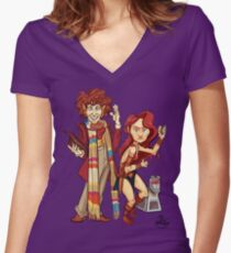 The Doctor, The Warrior, and K-9 Women's Fitted V-Neck T-Shirt