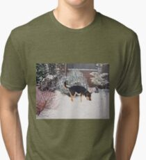 Winter snow scene with cute black and tan dog  Tri-blend T-Shirt