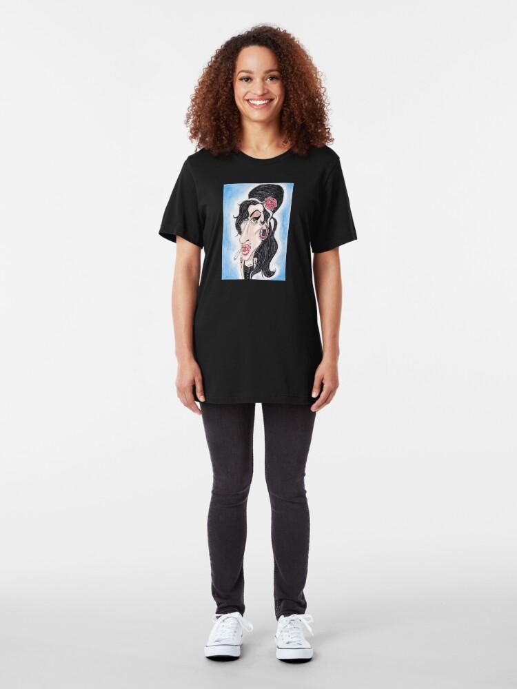 Alternative Ansicht von R & B Soul Singer Karikatur Zeichnung Slim Fit T-Shirt