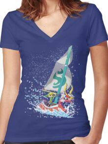 Voyaging ~ WindWaker Women's Fitted V-Neck T-Shirt