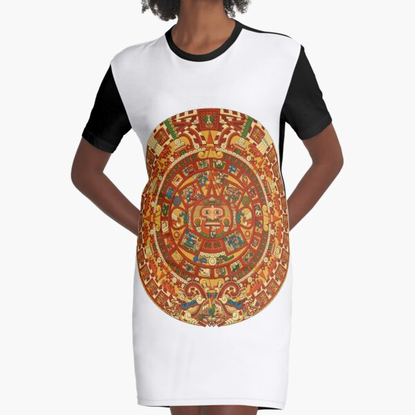 #Aztec, #decoration, #pattern, #art, ornate, abstract, design, flower, proportion, craft Graphic T-Shirt Dress