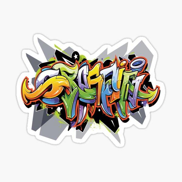 Diseño de camiseta Urban Art Graffiti. Pegatina