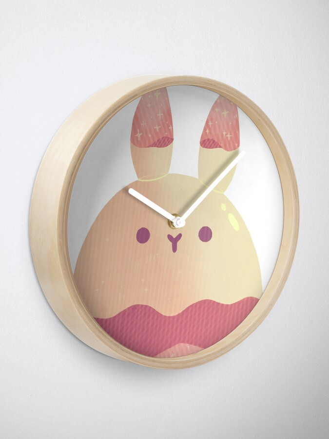 Alternate view of Water Bunny - Pink v2 Clock