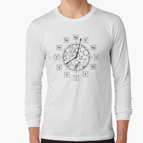 Periodic Table Clock Funny Chemistry Geek Gift Long Sleeve T-Shirt