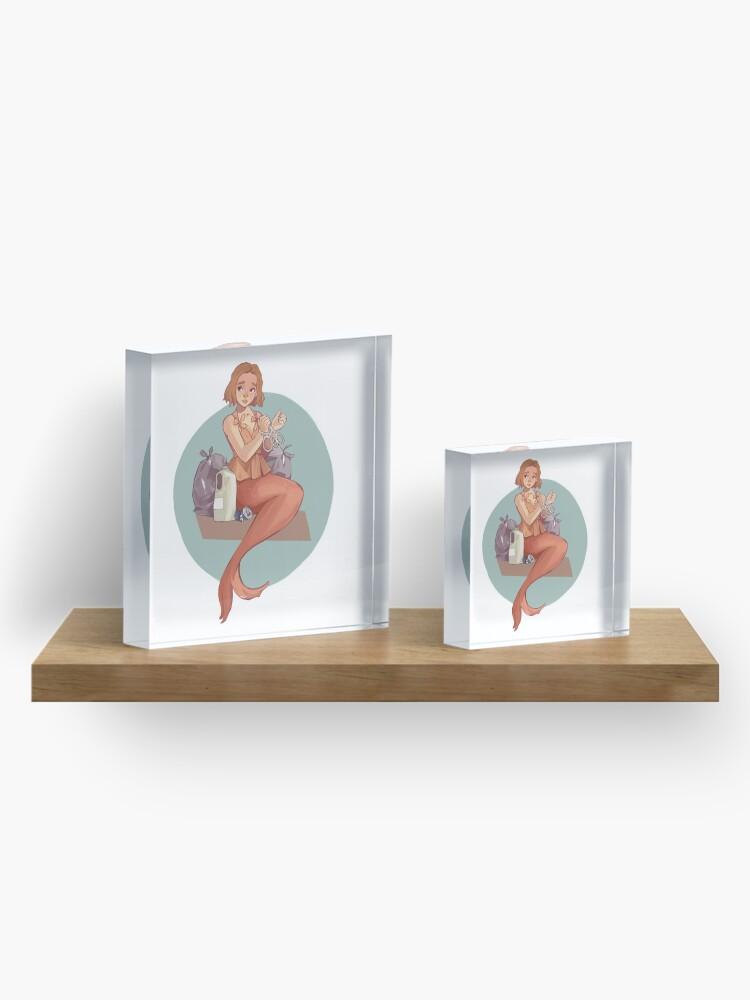 Alternate view of Mermay - Mermaid vs Pollution Acrylic Block