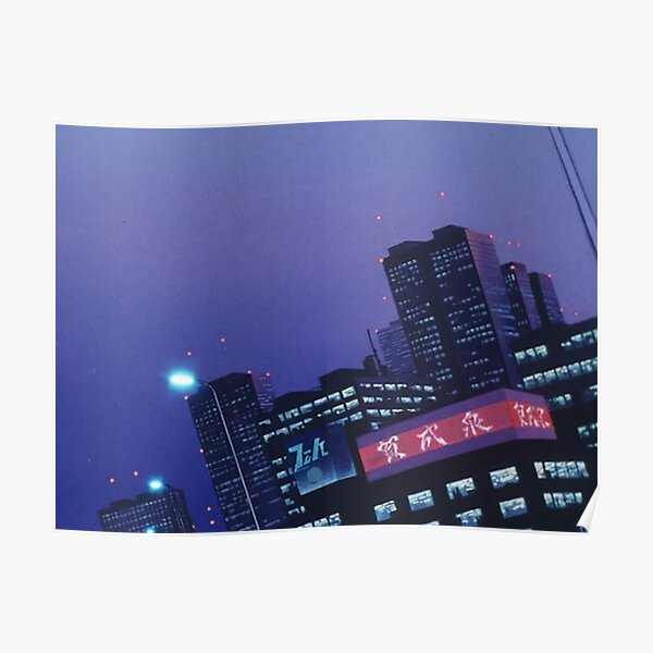 Anime Purple City at Night Poster