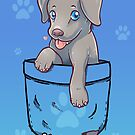 Pocket Cute Weimaraner Puppy Dog by TechraNova