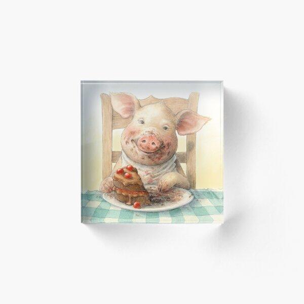 Piggy Loves Choco Cake Acrylic Block