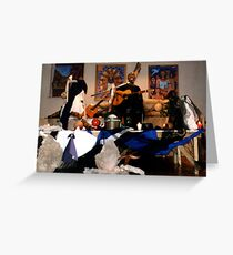 My paintings on the scene of Xiomara Fortuna concert Greeting Card